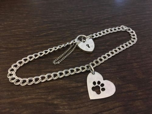 Paw on your heart Charm  on a z curb bracelet solid sterling silver handmade